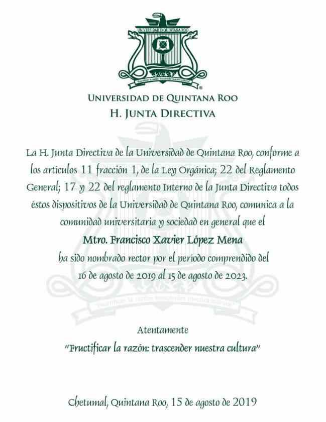 , Oficializan a López Mena como rector
